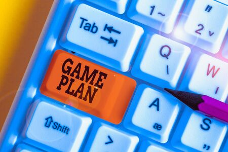 Word writing text Game Plan. Business photo showcasing strategy worked out in advance in sport politics or business White pc keyboard with empty note paper above white background key copy space Banco de Imagens