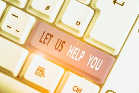 Writing note showing Let Us Help You. Business concept for Offering a service to someone to help him in his necessity