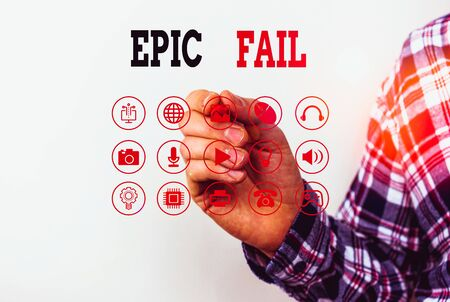 Conceptual hand writing showing Epic Fail. Concept meaning a spectacularly embarrassing mistake Humiliating situation Stok Fotoğraf