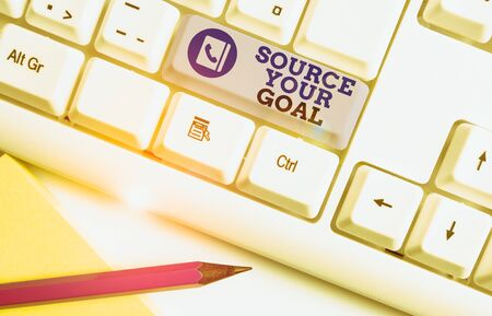 Conceptual hand writing showing Source Your Goal. Concept meaning work on your dreams and determine how to do that Set list White pc keyboard with note paper above the white background