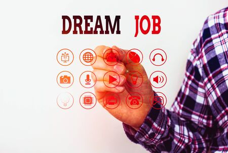 Conceptual hand writing showing Dream Job. Concept meaning An act that is paid of by salary and giving you hapiness