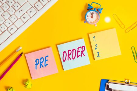 Writing note showing Pre Order. Business concept for an order for a product placed before it is available for purchase Flat lay above copy space on the white crumpled paper