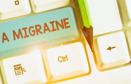 Conceptual hand writing showing A Migraine. Concept meaning recurrent throbbing headache that affects one side of the head