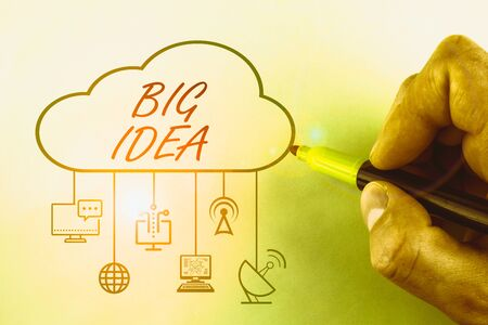 Conceptual hand writing showing Big Idea. Concept meaning Having great creative innovation solution or way of thinking