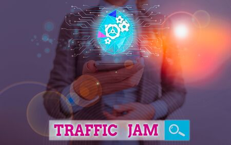 Text sign showing Traffic Jam. Business photo text a large number of vehicles close together and unable to move