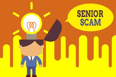 Word writing text Senior Scam. Business photo showcasing fraud schemes targeting the lifestyle and savings of the elderly Standing successful man suit necktie surging brilliant innovative solutions