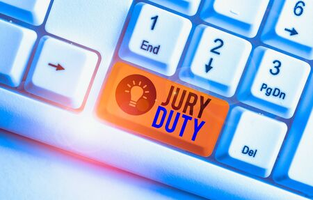 Handwriting text Jury Duty. Conceptual photo obligation or a period of acting as a member of a jury in court White pc keyboard with empty note paper above white background key copy space