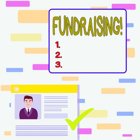 Writing note showing Fundraising. Business concept for seeking to generate financial support for charity or cause Curriculum Vitae Resume of Candidate Marked by Color Mark Banco de Imagens