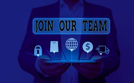 Word writing text Join Our Team. Business photo showcasing Allied Associate Work with us New Employee Hired Enlist