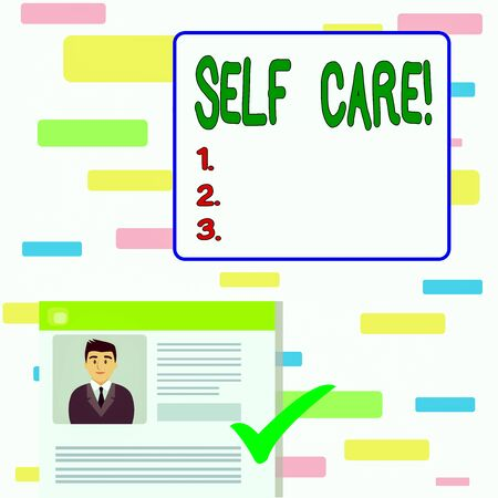 Writing note showing Self Care. Business concept for practice of taking action to preserve or improve ones own health Curriculum Vitae Resume of Candidate Marked by Color Mark