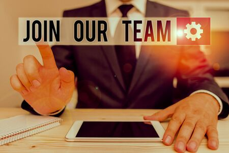 Word writing text Join Our Team. Business photo showcasing Allied Associate Work with us New Employee Hired Enlist Male human wear formal clothes present presentation use hi tech smartphone