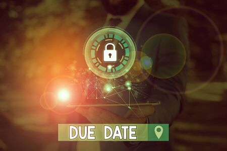 Writing note showing Due Date. Business concept for The date when payment should be received by the demonstrating or company