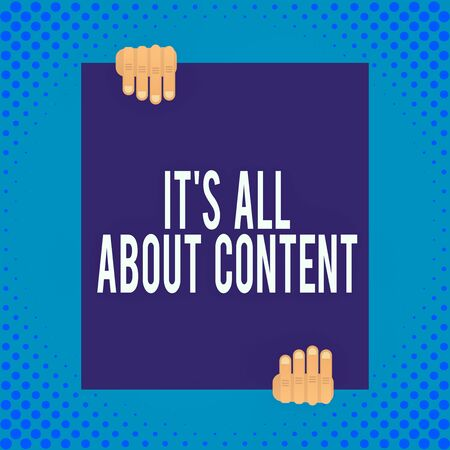 Word writing text It S All About Content. Business photo showcasing Express thru Writing Information and Experience Two hands holding big blank rectangle up down Geometrical background design Stock fotó