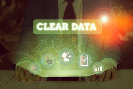 Texte de l'écriture effacer les données. Acte de photo conceptuelle de suppression de données ou d'informations indésirables dans un disque de stockage