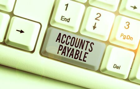 Writing note showing Accounts Payable. Business concept for money owed by a business to its suppliers as a liability