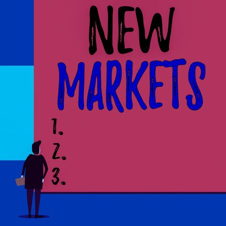 Text sign showing New Markets. Business photo showcasing market where the end product or service is new or not exist yet Back view young woman watching blank big rectangle. Geometrical background