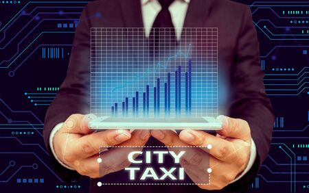 Writing note showing City Taxi. Business concept for type of vehicle for hire with a driver often for a nonshared ride Stock Photo