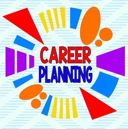 Word writing text Career Planning. Business photo showcasing Strategically plan your career goals and work success Asymmetrical uneven shaped format pattern object outline multicolour design