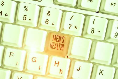 Word writing text Men S Health. Business photo showcasing state of complete physical mental and social well being by analysis