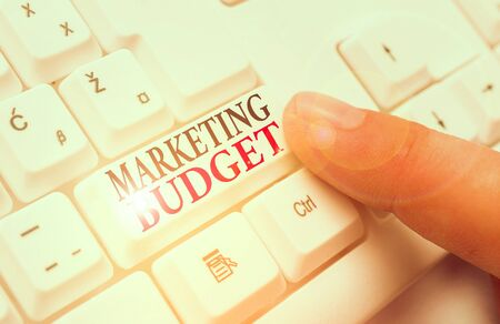 Word writing text Marketing Budget. Business photo showcasing estimated amount of cost required to promote products
