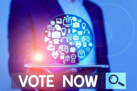 Word writing text Vote Now. Business photo showcasing formal indication of choice between two or more courses of action
