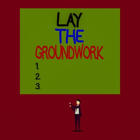 Handwriting text Lay The Groundwork. Conceptual photo Preparing the Basics or Foundation for something Isolated view young man standing pointing upwards two hands big rectangle