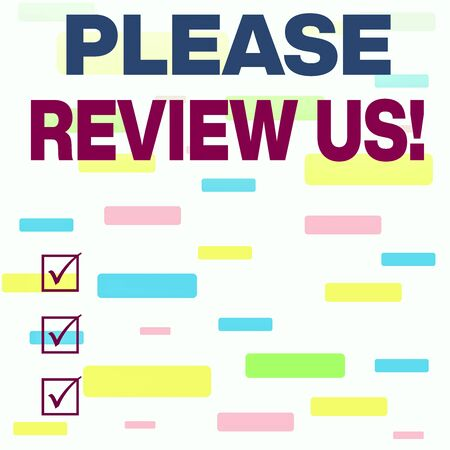 Writing note showing Please Review Us. Business concept for situation or system is formal examination by showing authority Seamless Infinite Different Size Multicolored Tiles Long Squares Stock fotó