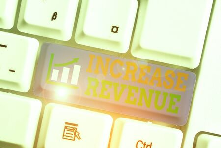 Word writing text Increase Revenue. Business photo showcasing increase in a company s is sales from one period to the next Фото со стока