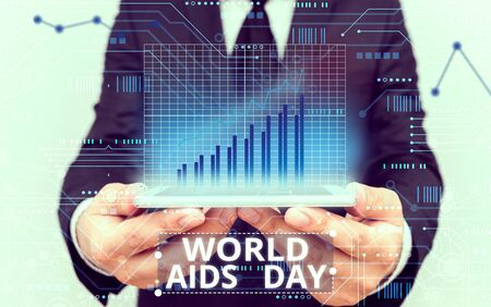 Text sign showing World Aids Day. Business photo showcasing 1st December dedicated to raising awareness of the AIDS