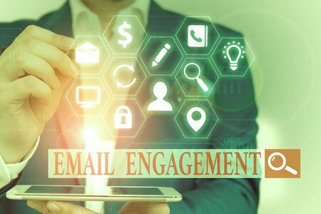 Text sign showing Email Engagement. Business photo text measure how subscribers engage in the email campaigns