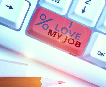 Conceptual hand writing showing I Love My Job. Concept meaning Enjoying the daily tasked assigned Contented on the occupation Stock fotó