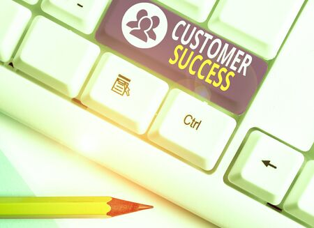 Word writing text Customer Success. Business photo showcasing customers achieve desired outcomes while using your product