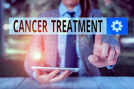 Conceptual hand writing showing Cancer Treatment. Concept meaning The analysisagement of medical care given to a cancer patient Female business person sitting by table holding mobile phone Stockfoto