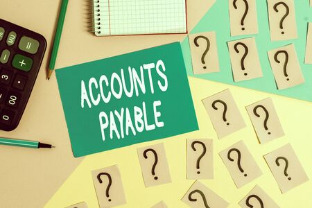 Word writing text Accounts Payable. Business photo showcasing money owed by a business to its suppliers as a liability Mathematics stuff and writing equipment above pastel colours background