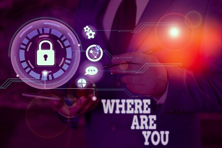 Writing note showing Where Are You. Business concept for Give us your location address direction point of reference