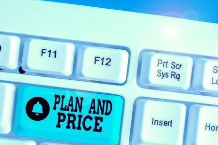 Writing note showing Plan And Price. Business concept for setting decent price for product to sale according market 免版税图像
