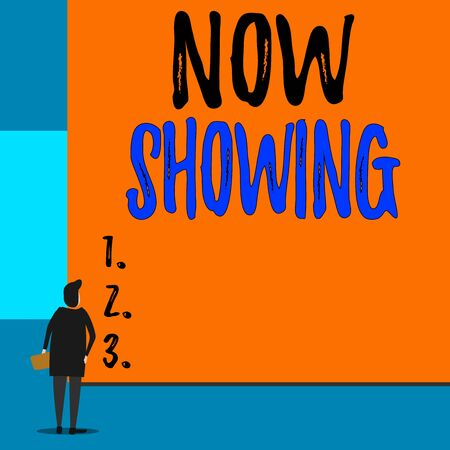 Text sign showing Now Showing. Business photo showcasing opportunity for the public to see something currently available Back view young woman watching blank big rectangle. Geometrical background Фото со стока