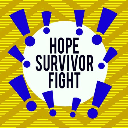 Conceptual hand writing showing Hope Survivor Fight. Concept meaning stand against your illness be fighter stick to dreams Asymmetrical uneven shaped pattern object multicolour design