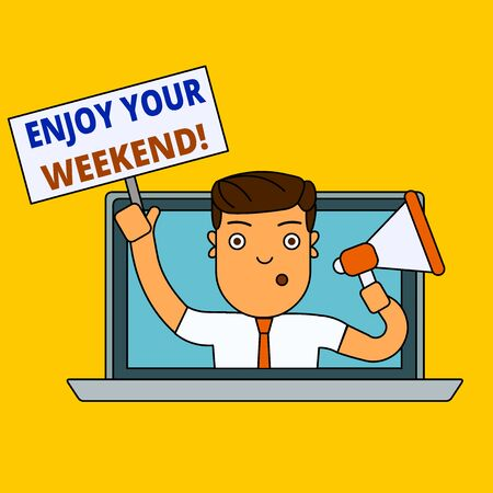 Writing note showing Enjoy Your Weekend. Business concept for wishing someone that something nice will happen at holiday Man Speaking Through Laptop into Megaphone Plate with Handle Stock fotó
