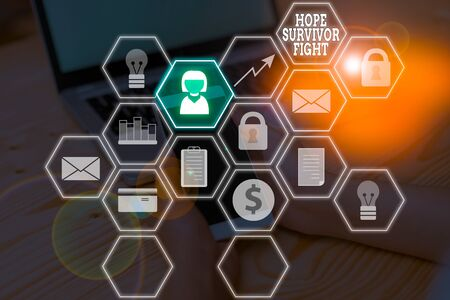 Word writing text Hope Survivor Fight. Business photo showcasing stand against your illness be fighter stick to dreams