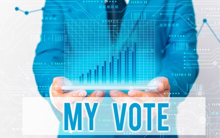 Word writing text My Vote. Business photo showcasing the act of showing your choice or opinion in an election or meeting