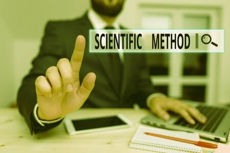 Word writing text Scientific Method. Business photo showcasing method of procedure that has characterized natural science Male human wear formal clothes present presentation use hi tech smartphone 免版税图像
