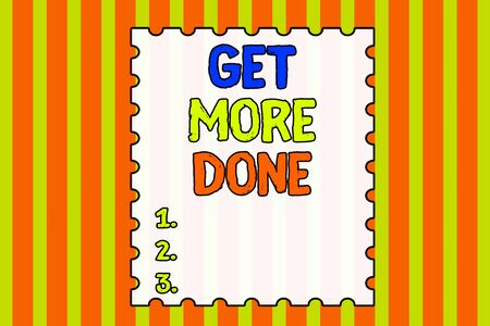 Conceptual hand writing showing Get More Done. Concept meaning Checklist Organized Time Management Start Hardwork Act Abstract background multicolor intersecting striped pattern Standard-Bild