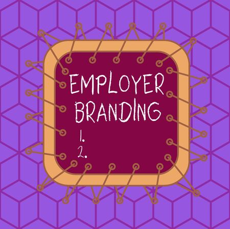 Writing note showing Employer Branding. Business concept for process of articulating your company unique message Asymmetrical uneven shaped pattern object multicolour design