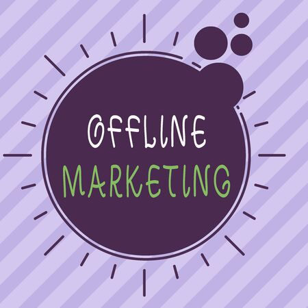 Writing note showing Offline Marketing. Business concept for Advertising strategy published outside of the internet Asymmetrical uneven shaped pattern object multicolour design
