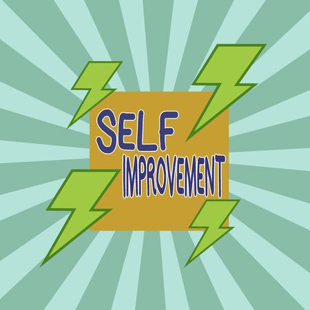Text sign showing Self Improvement. Business photo text process of making yourself a better or more knowledgable Asymmetrical uneven shaped format pattern object outline multicolour design
