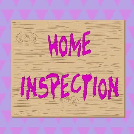 Conceptual hand writing showing Home Inspection. Concept meaning noninvasive examination of the condition of a home Square rectangle unreal cartoon wood on the coloured wall