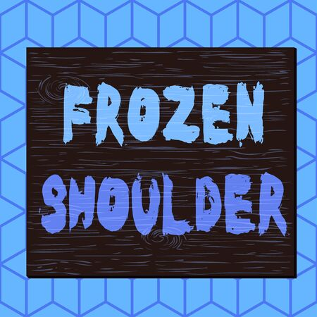 Writing note showing Frozen Shoulder. Business concept for characterized by stiffness and pain in your shoulder joint Square rectangle unreal cartoon wood on the coloured wall Standard-Bild
