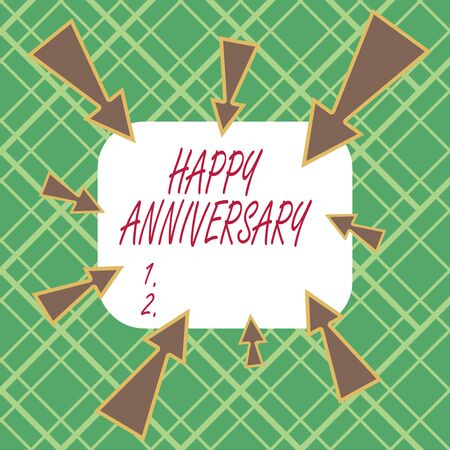 Handwriting text writing Happy Anniversary. Conceptual photo The annually recurring date of a past event celebration Asymmetrical uneven shaped format pattern object outline multicolour design