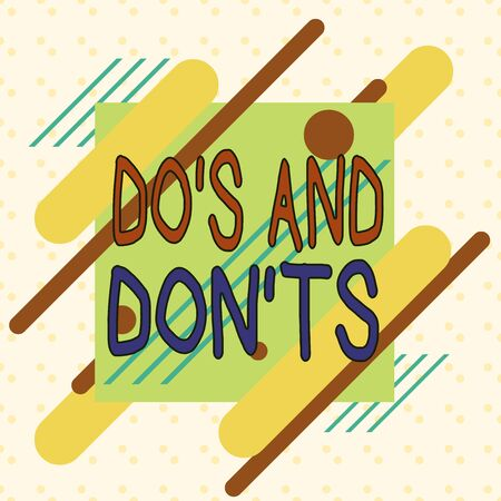 Writing note showing Do S And Don tS. Business concept for Rules or customs concerning some activity or actions Asymmetrical format pattern object outline multicolor design Stock fotó